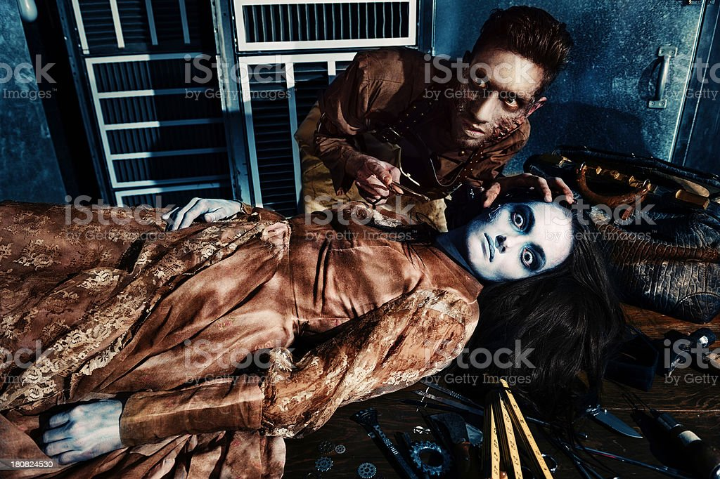 Mad Doctor Makes Himself a Wife stock photo