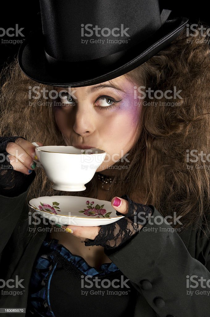 Mad Hatter drinking tea. royalty-free stock photo