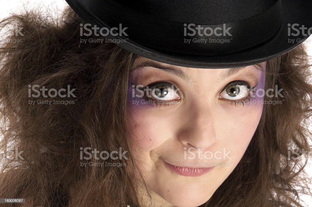 Mad Hatter girl, closeup on white. royalty-free stock photo