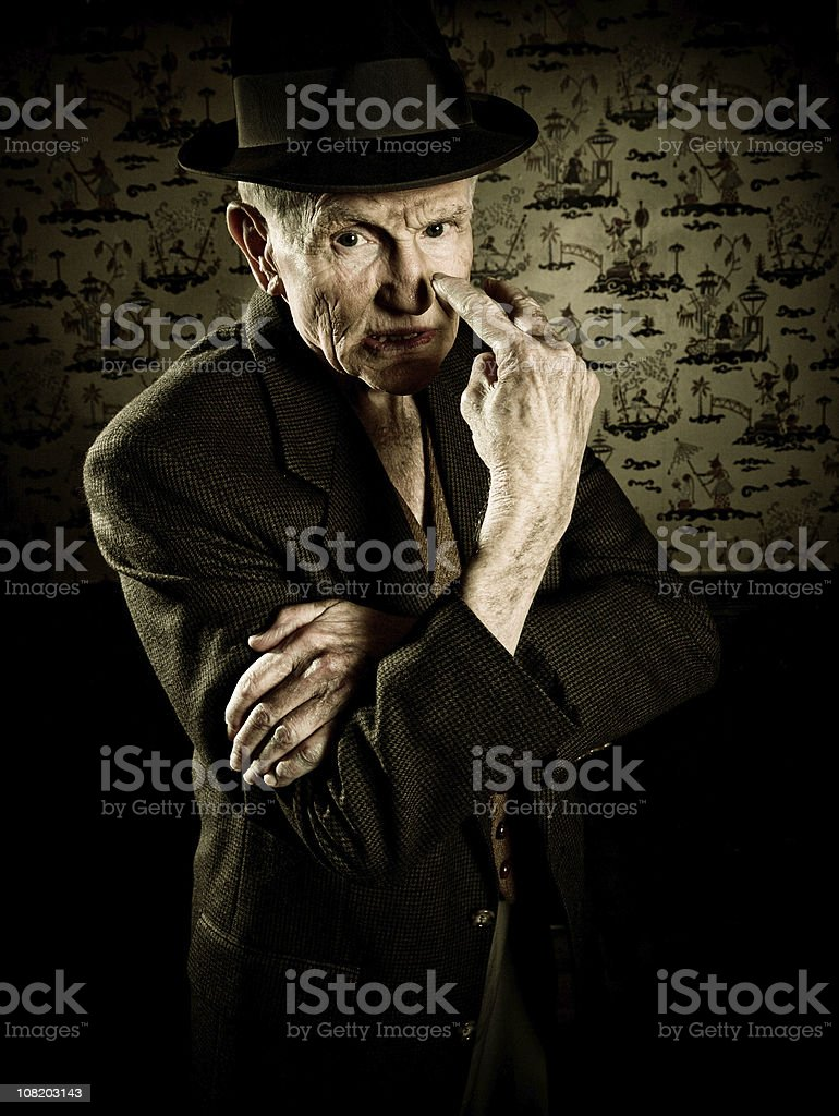 mad old man stock photo