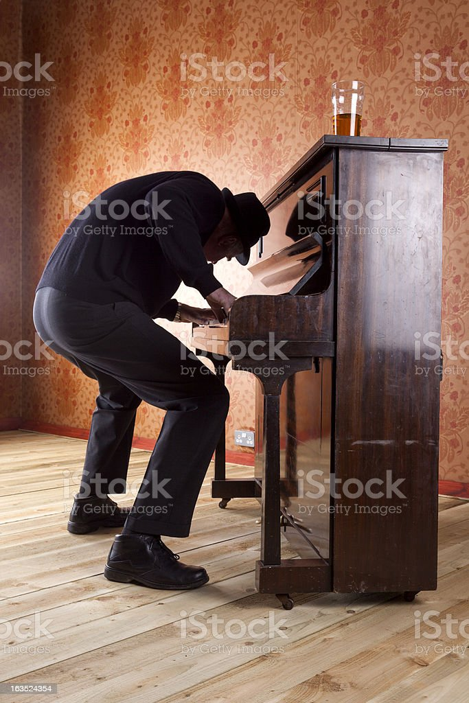 Mad Old Man Playing The Pub Piano royalty-free stock photo