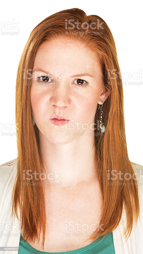Mad Person with Puckered Lips stock photo