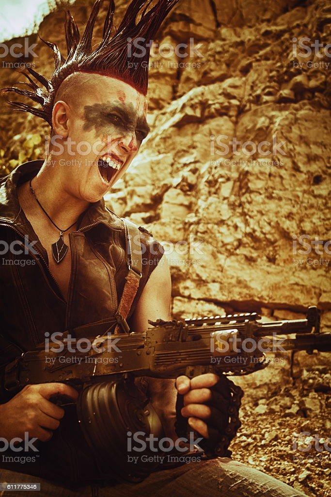 Mad raider stock photo