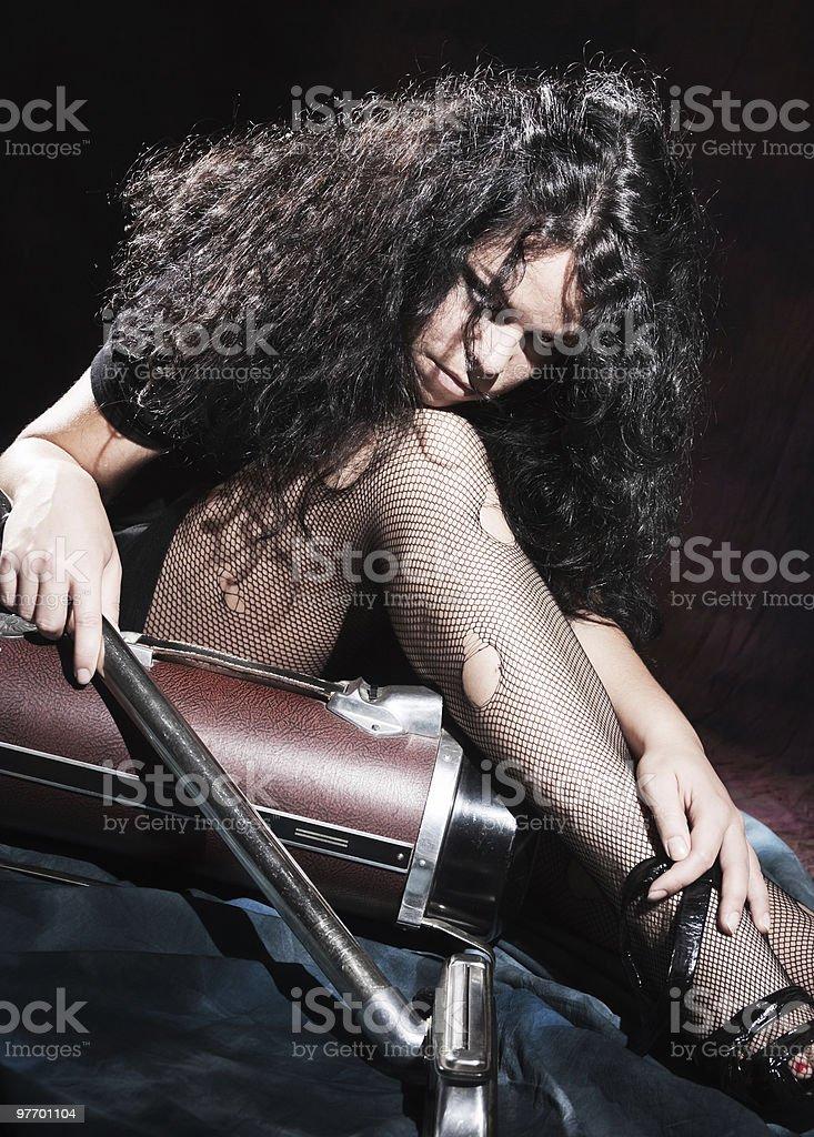 Mad retro scrubwoman royalty-free stock photo