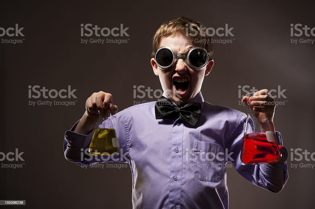 Mad Scientist Boy stock photo