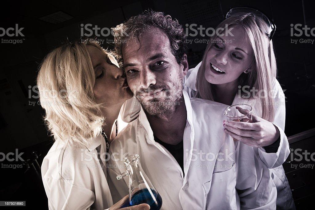 Mad Scientist creates love potion stock photo