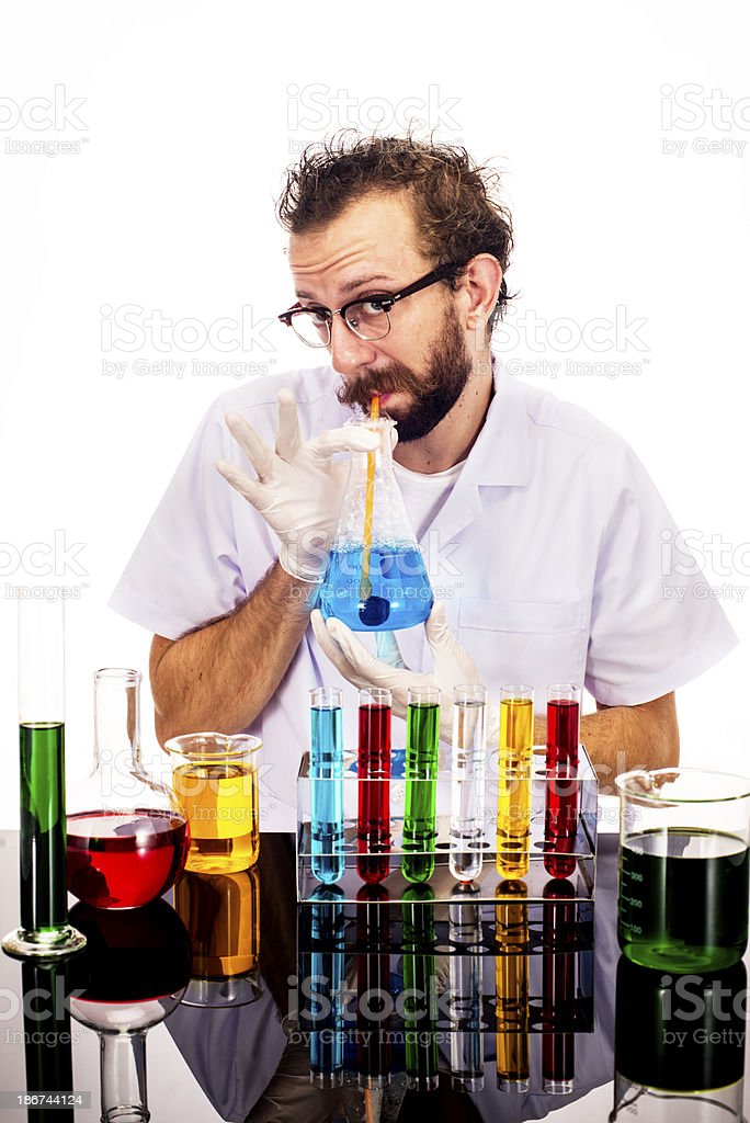 Mad Scientist Drinking royalty-free stock photo