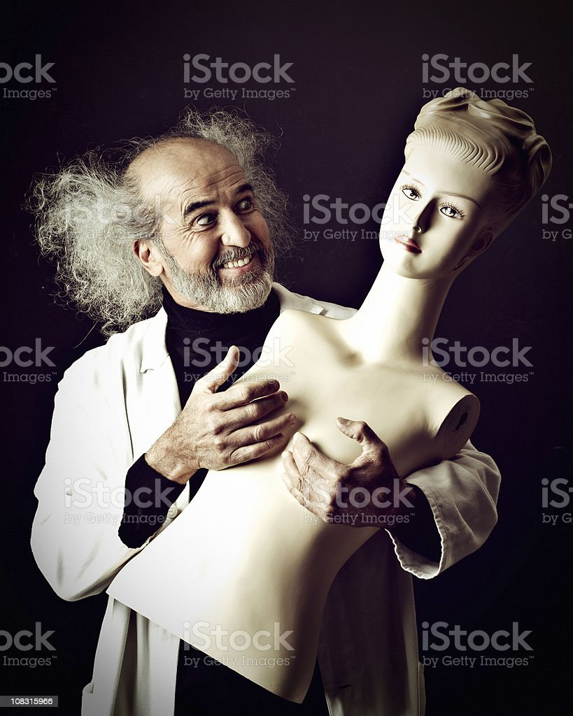 Mad Scientist in love stock photo