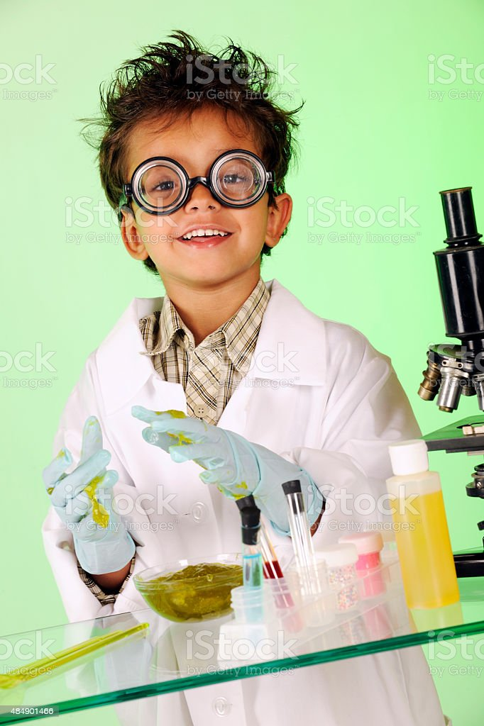 Mad Scientist in Slime stock photo