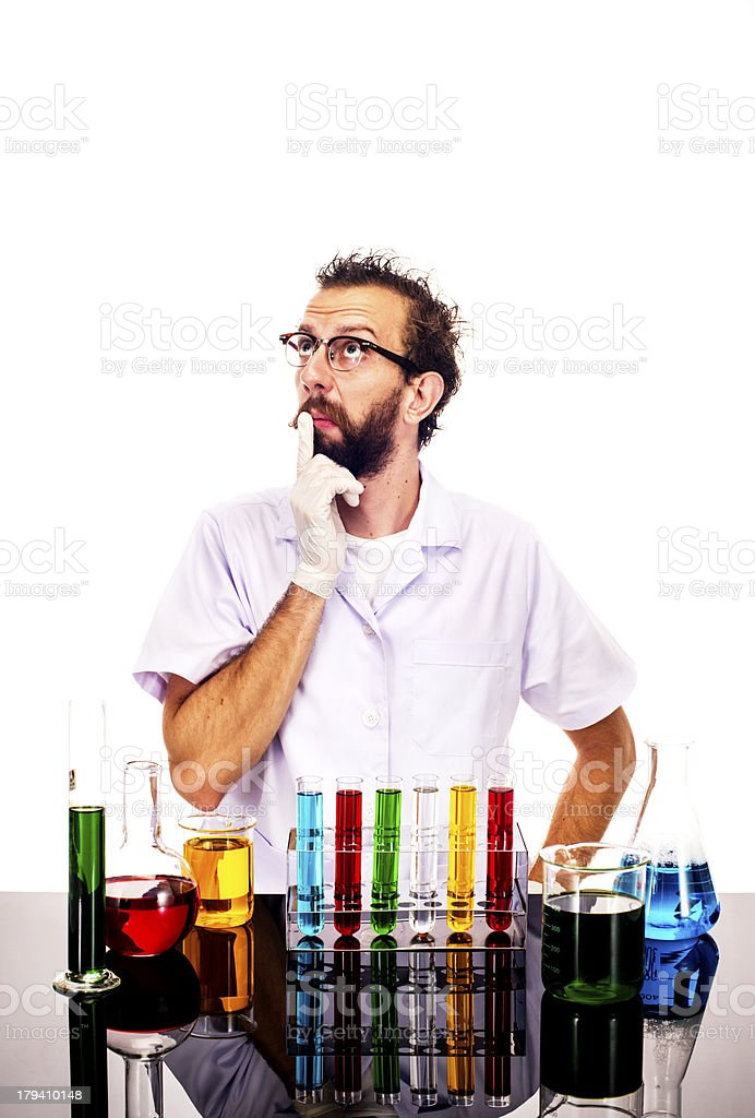 Mad Scientist Thinking royalty-free stock photo