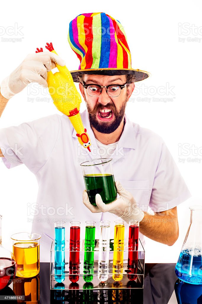 Mad Scientist With a Chicken stock photo