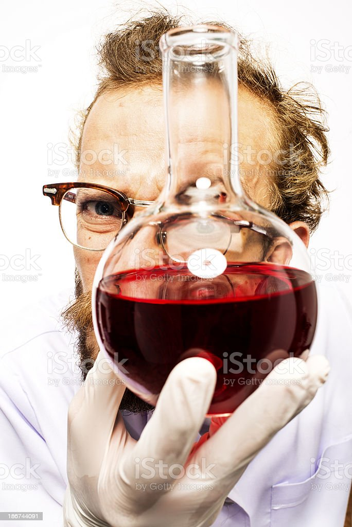 Mad Scientist With Red Liquid royalty-free stock photo