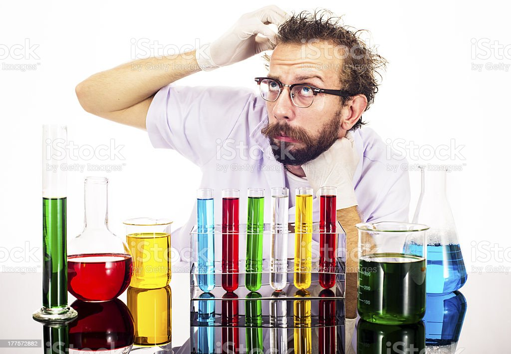 Mad Scientist Worried royalty-free stock photo