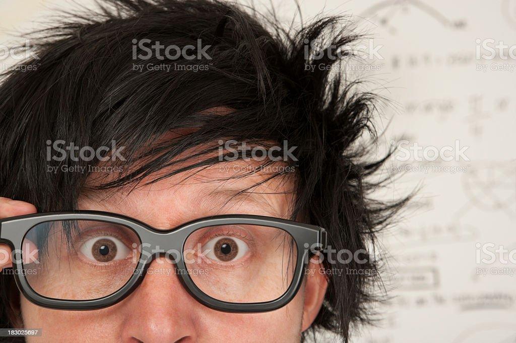 Mad staring professor stock photo