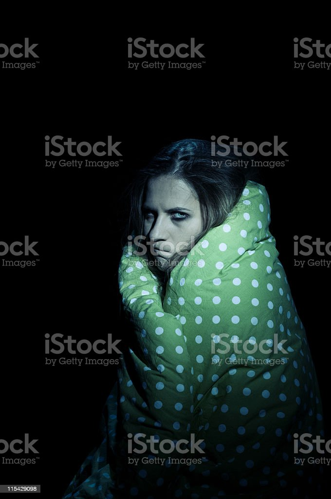 mad woman in a blanket stock photo