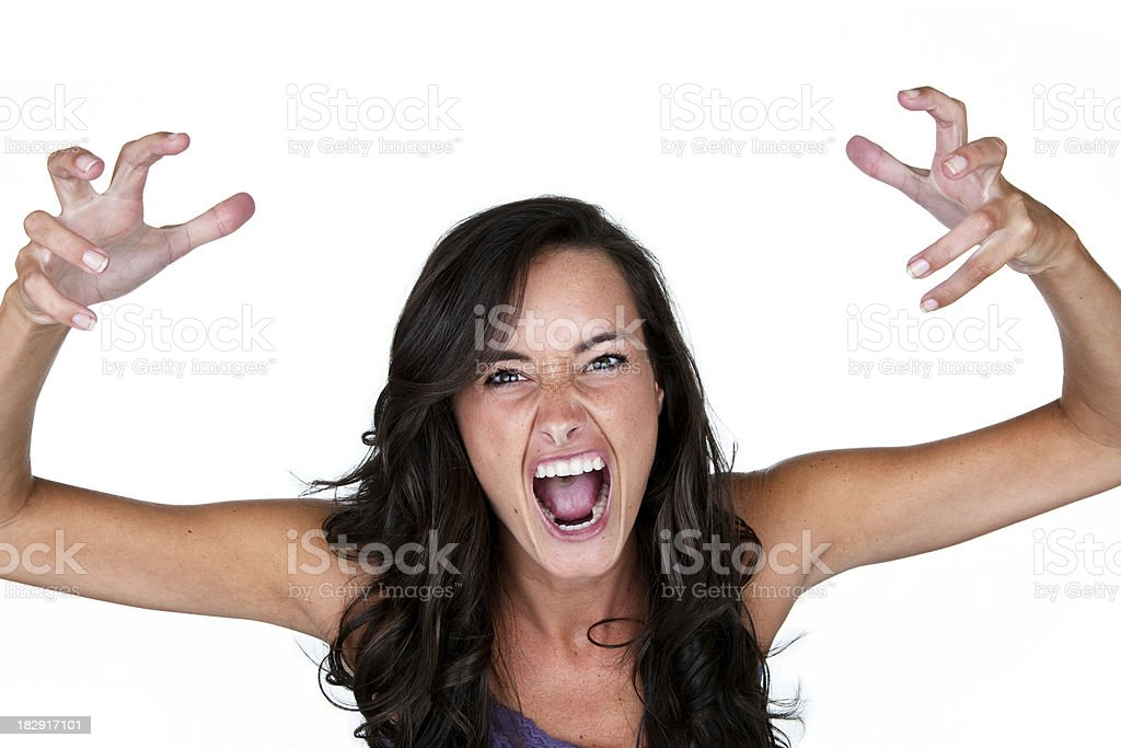 Mad woman with arms raised stock photo