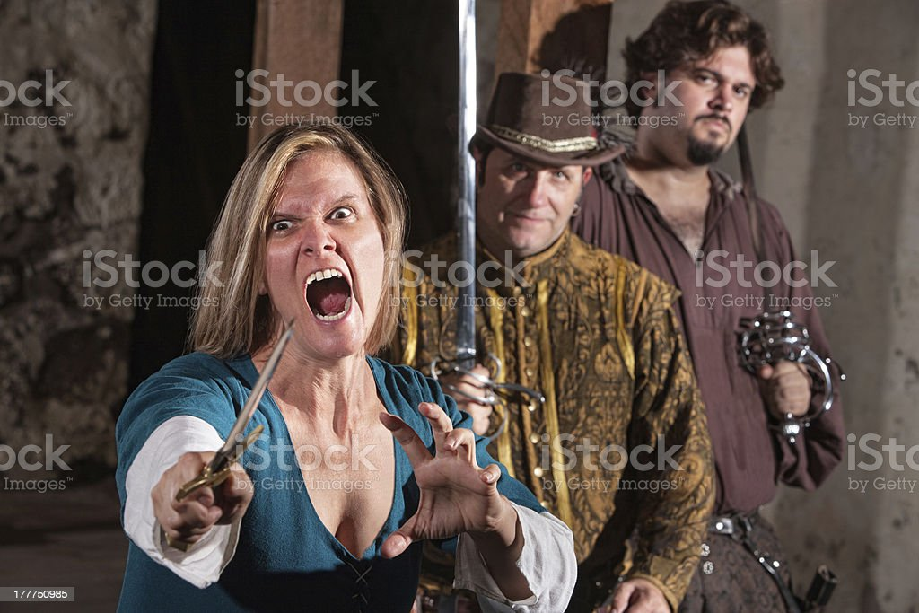 Mad Woman with Dagger royalty-free stock photo