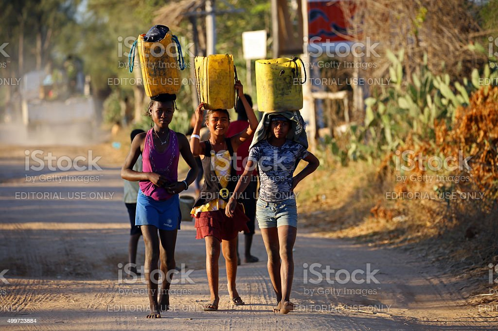Madagascar: Carrying Produce in Ifaty stock photo