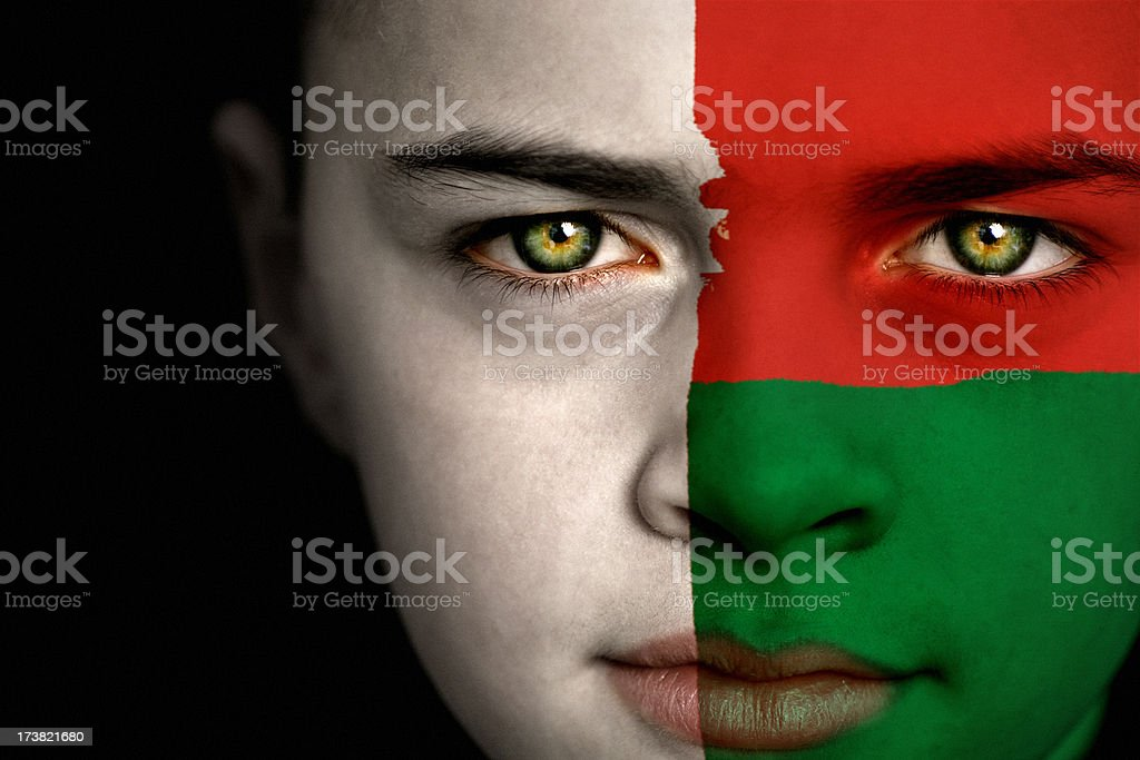 Madagascar flag boy royalty-free stock photo