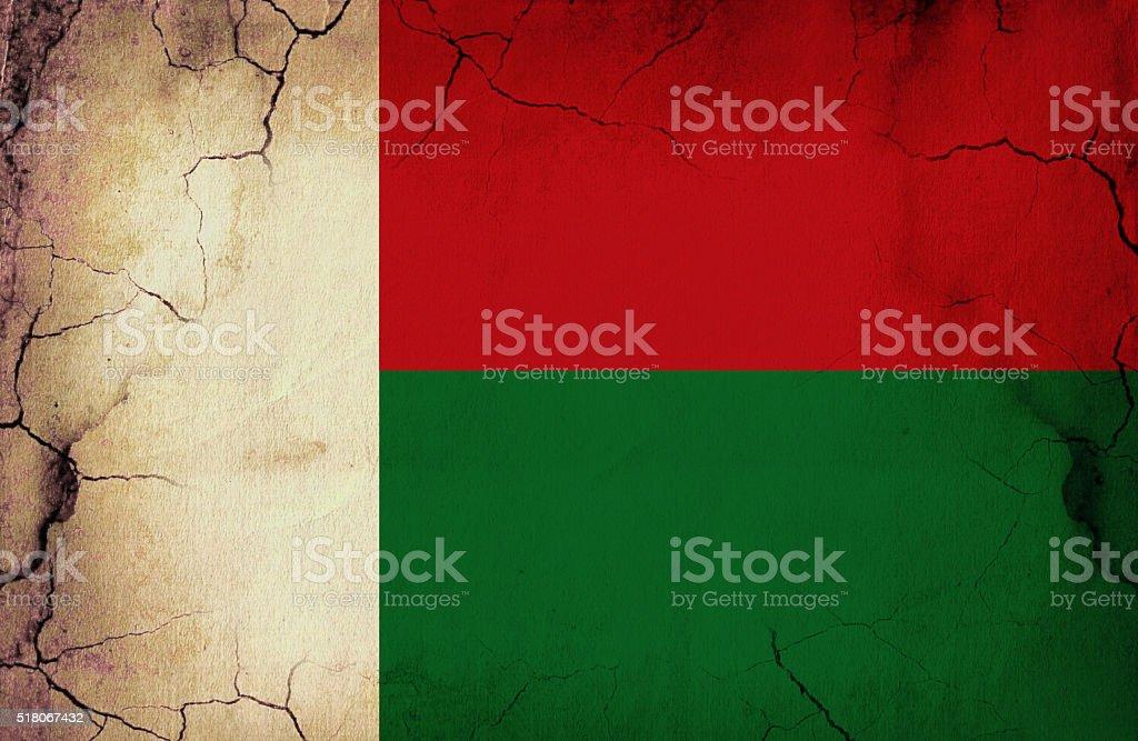 Madagascar grunge flag stock photo