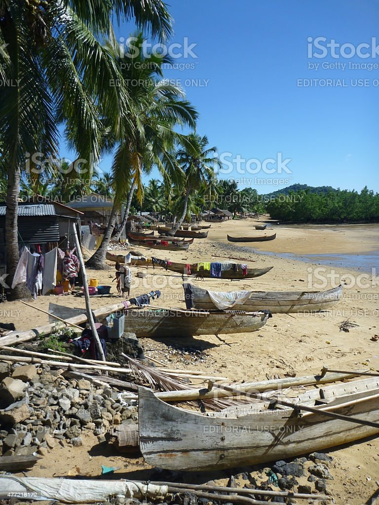 Madagascar Nosy Be island town and fisherman pirogues canoes stock photo