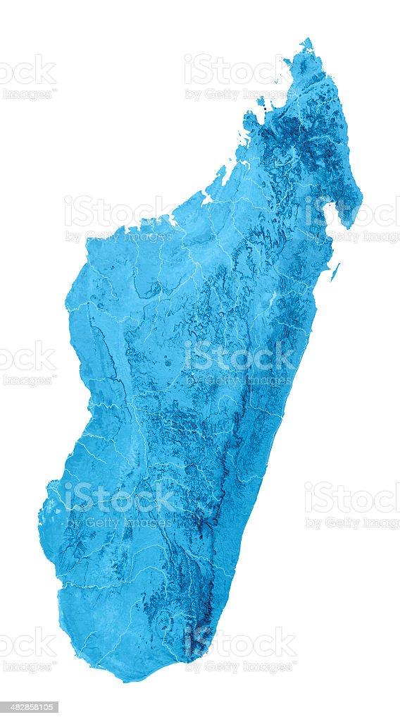Madagascar Topographic Map Isolated royalty-free stock photo