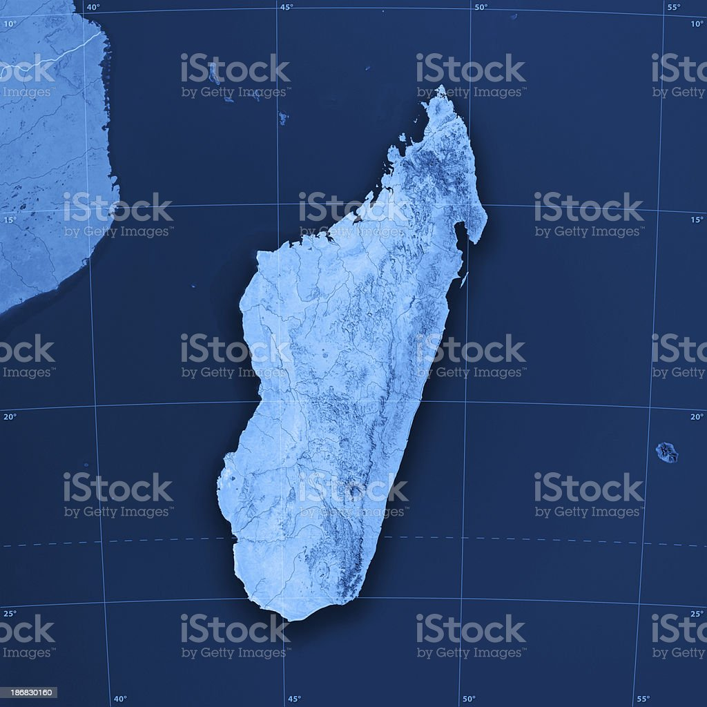 Madagascar Topographic Map royalty-free stock photo