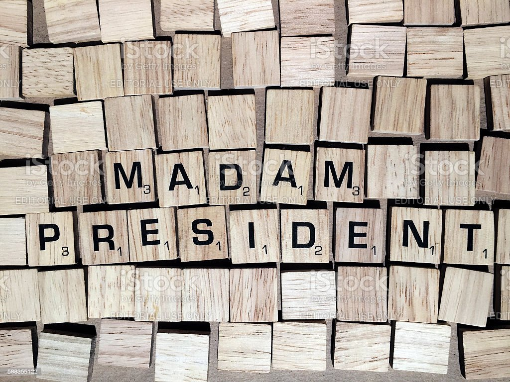 Madam President Spelled with Scrabble Tiles Letters stock photo
