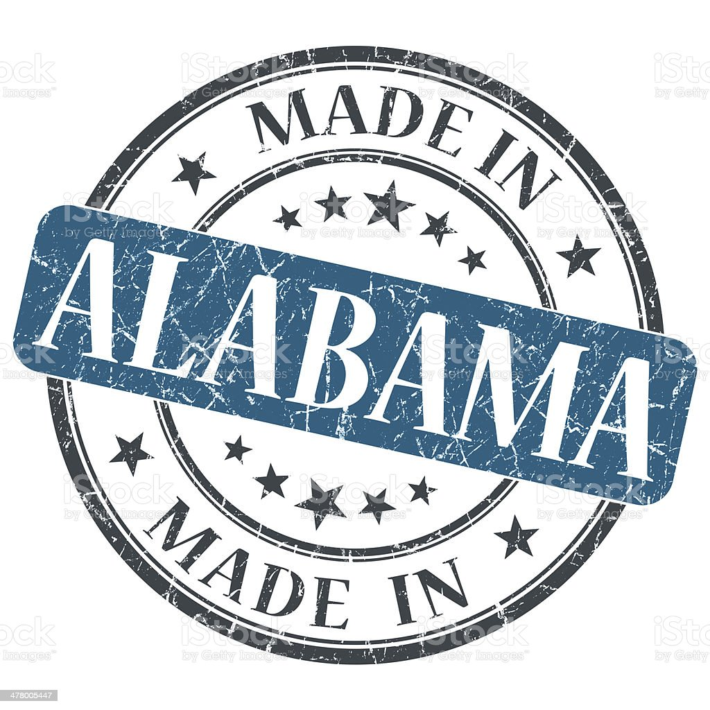 made in Alabama blue round grunge isolated stamp stock photo