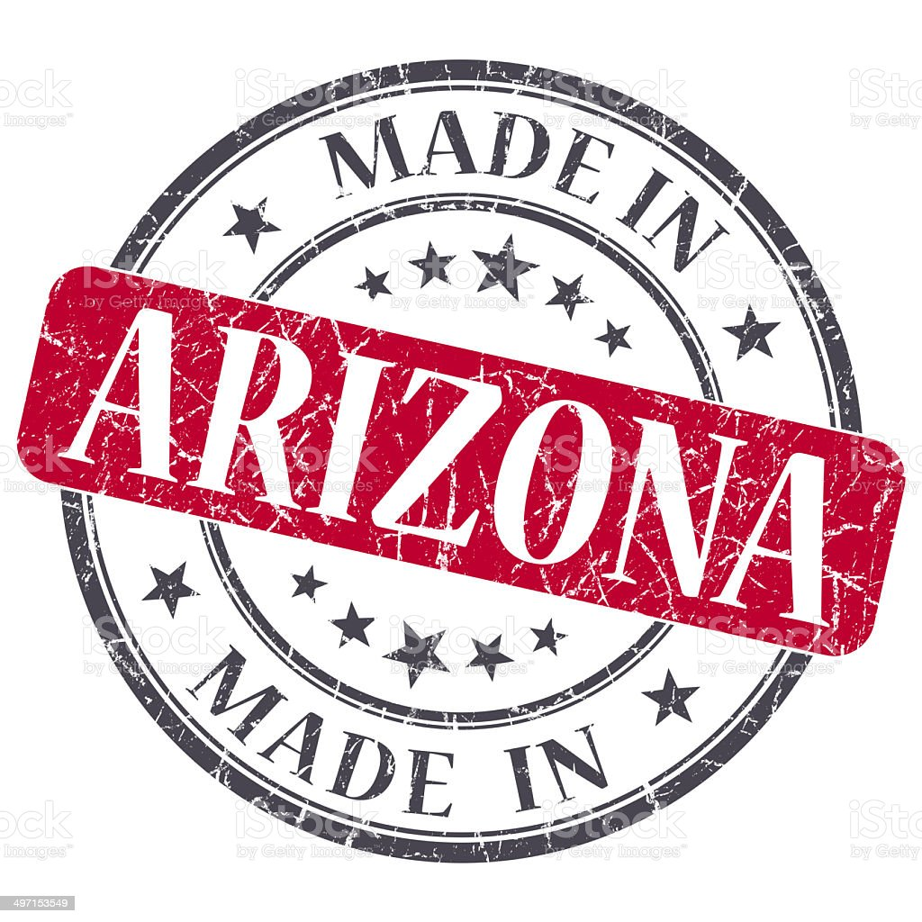 made in Arizona red round grunge isolated stamp stock photo