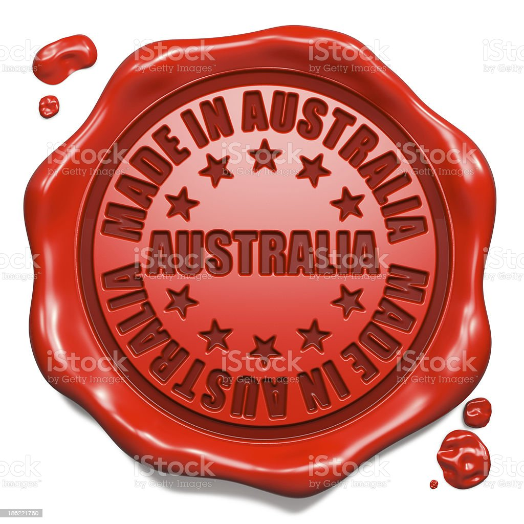 Made in Australia - Stamp on Red Wax Seal. royalty-free stock photo