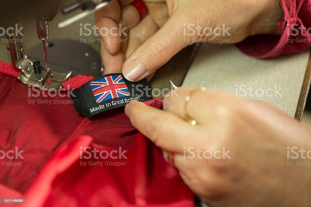 Made in Britain Clothing Tag or Label stock photo