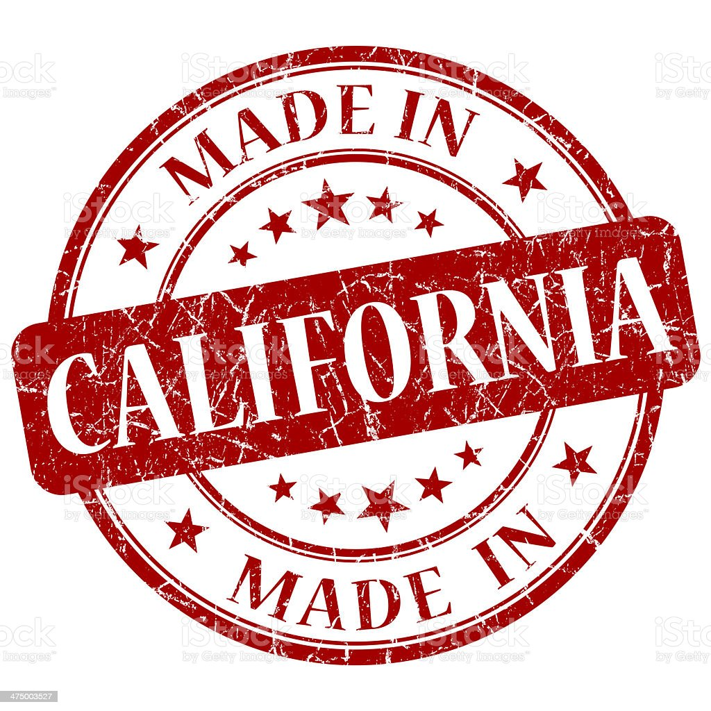 made in California red round grunge isolated stamp stock photo