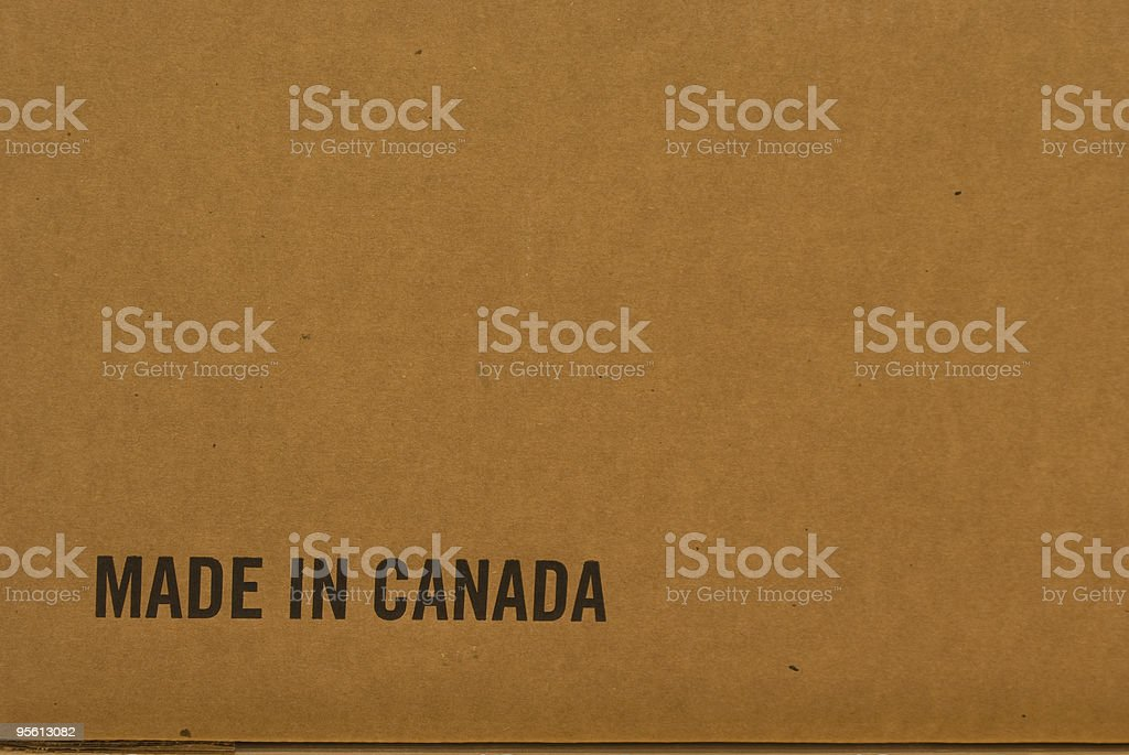 Made In Canada on Cardboard royalty-free stock photo