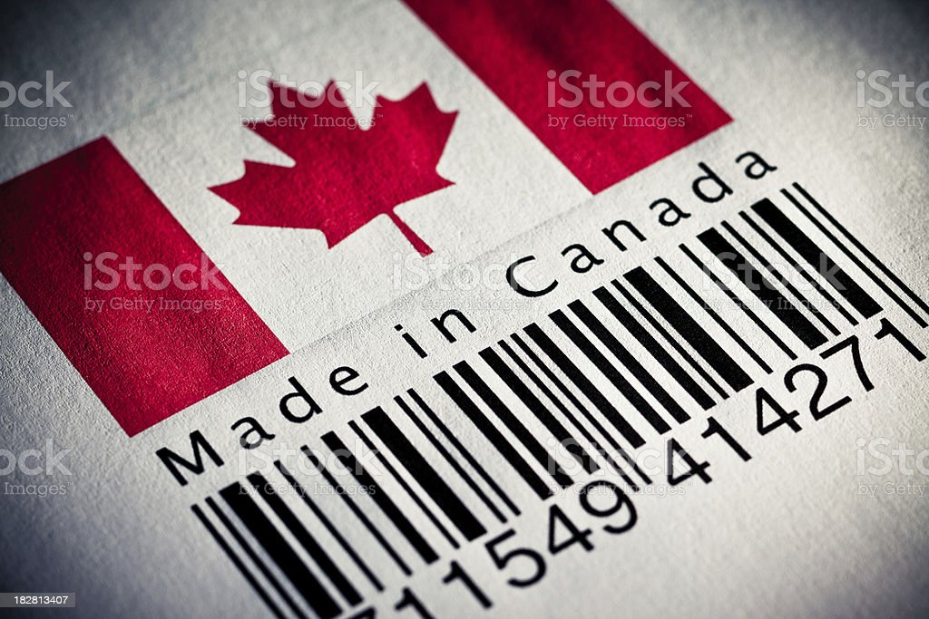 Made in Canada product's barcode royalty-free stock photo
