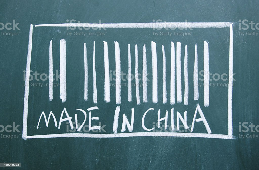 'made in  china 'barcode sign drawn on the blackboard vector art illustration