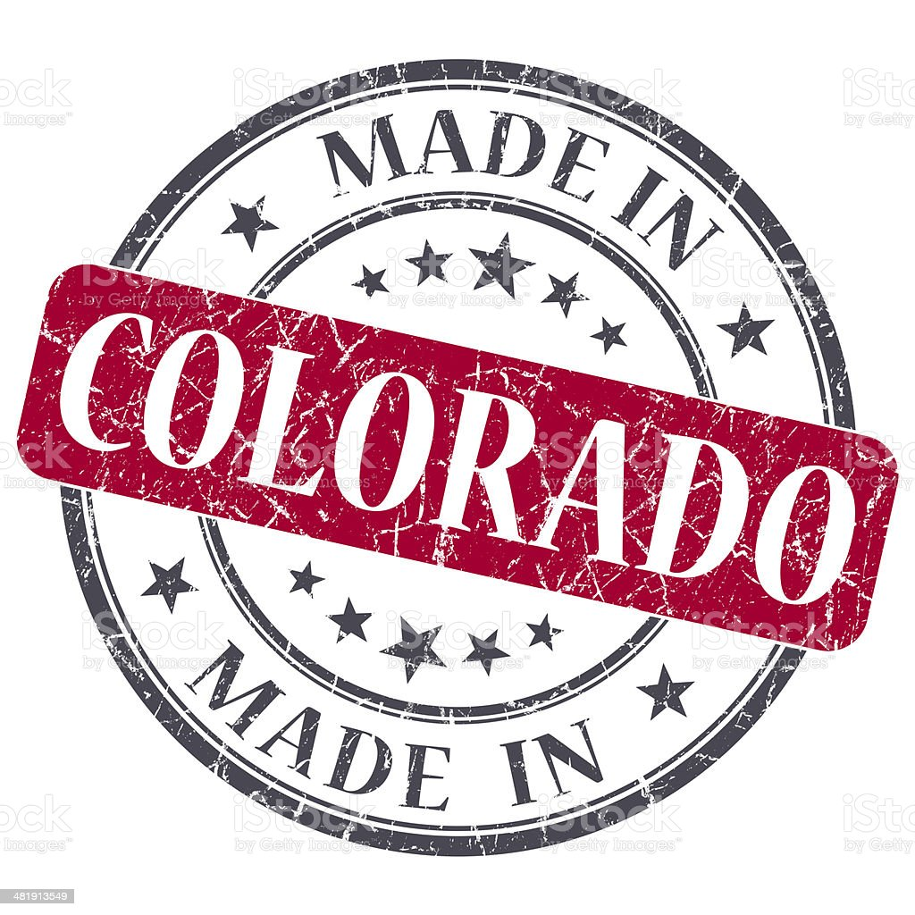 made in Colorado red round grunge isolated stamp stock photo