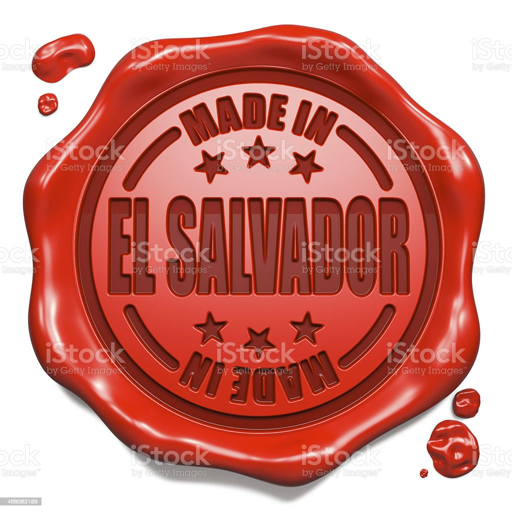 Made in El Salvador - Stamp on Red Wax Seal. stock photo