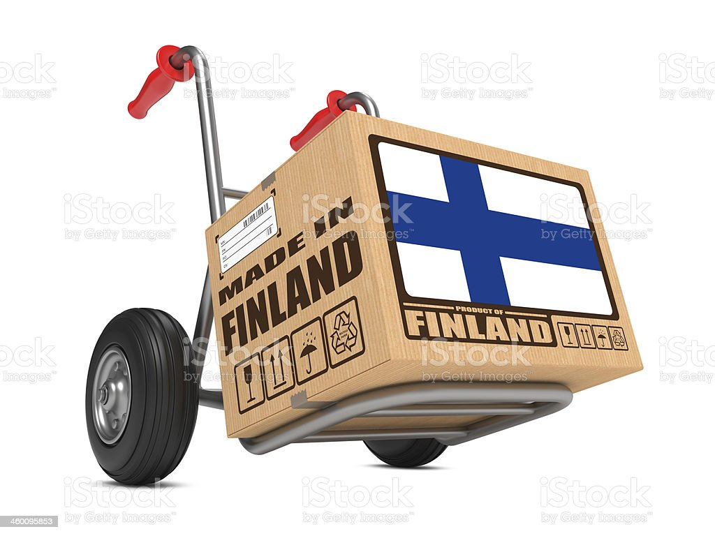 Made in Finland - Cardboard Box on Hand Truck. stock photo
