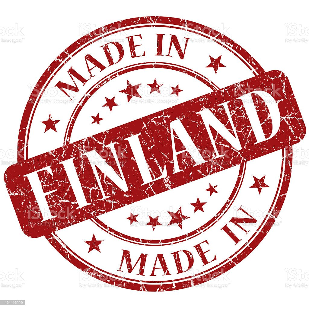 Made In Finland red stamp stock photo