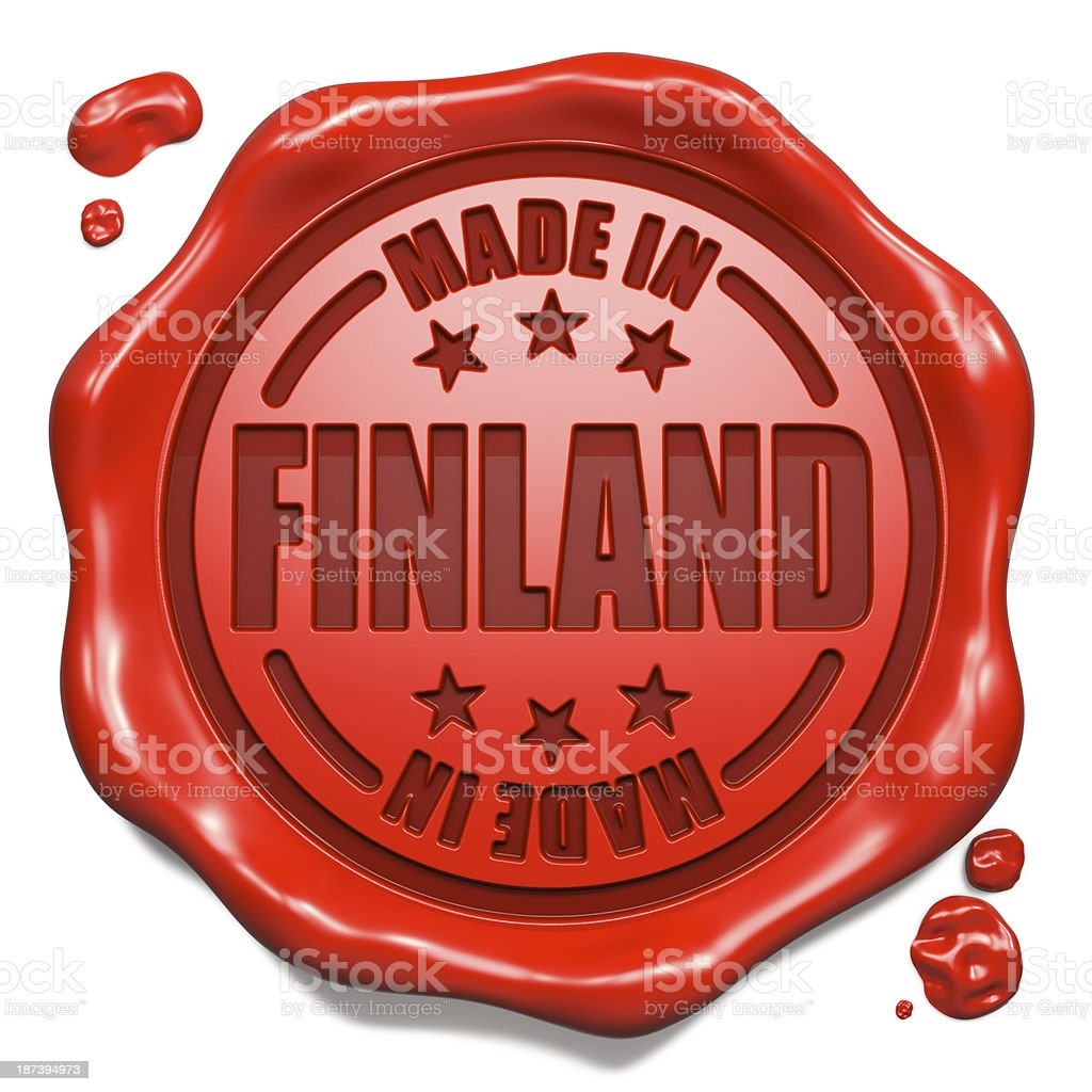 Made in Finland - Stamp on Red Wax Seal. stock photo