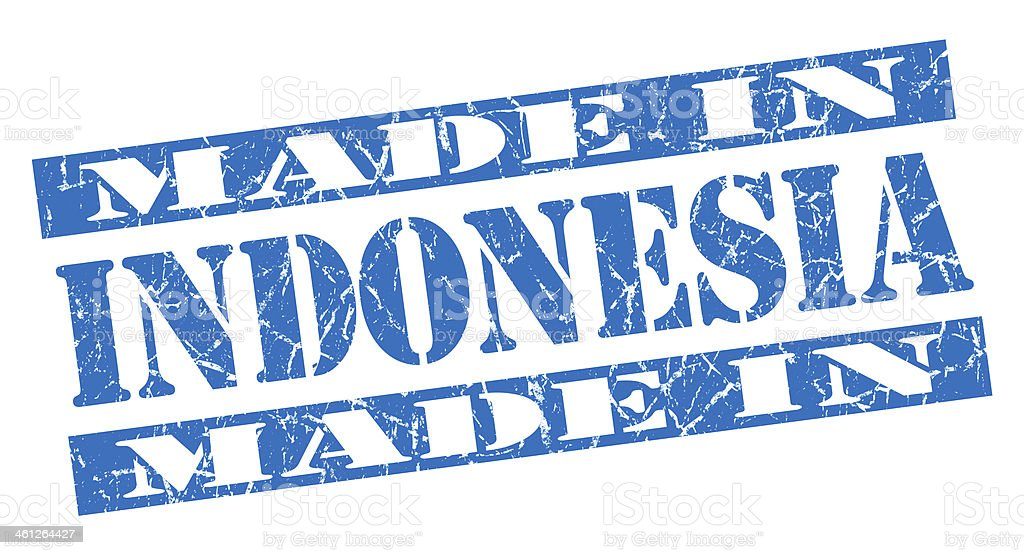 made in Indonesia grunge blue stamp royalty-free stock photo