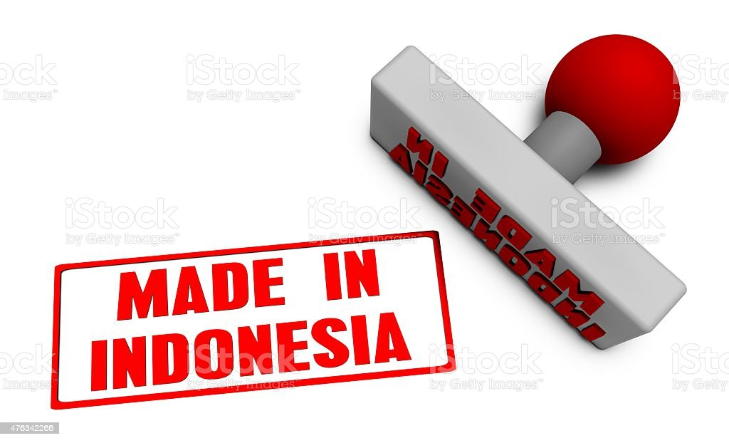 Made in Indonesia Stamp stock photo