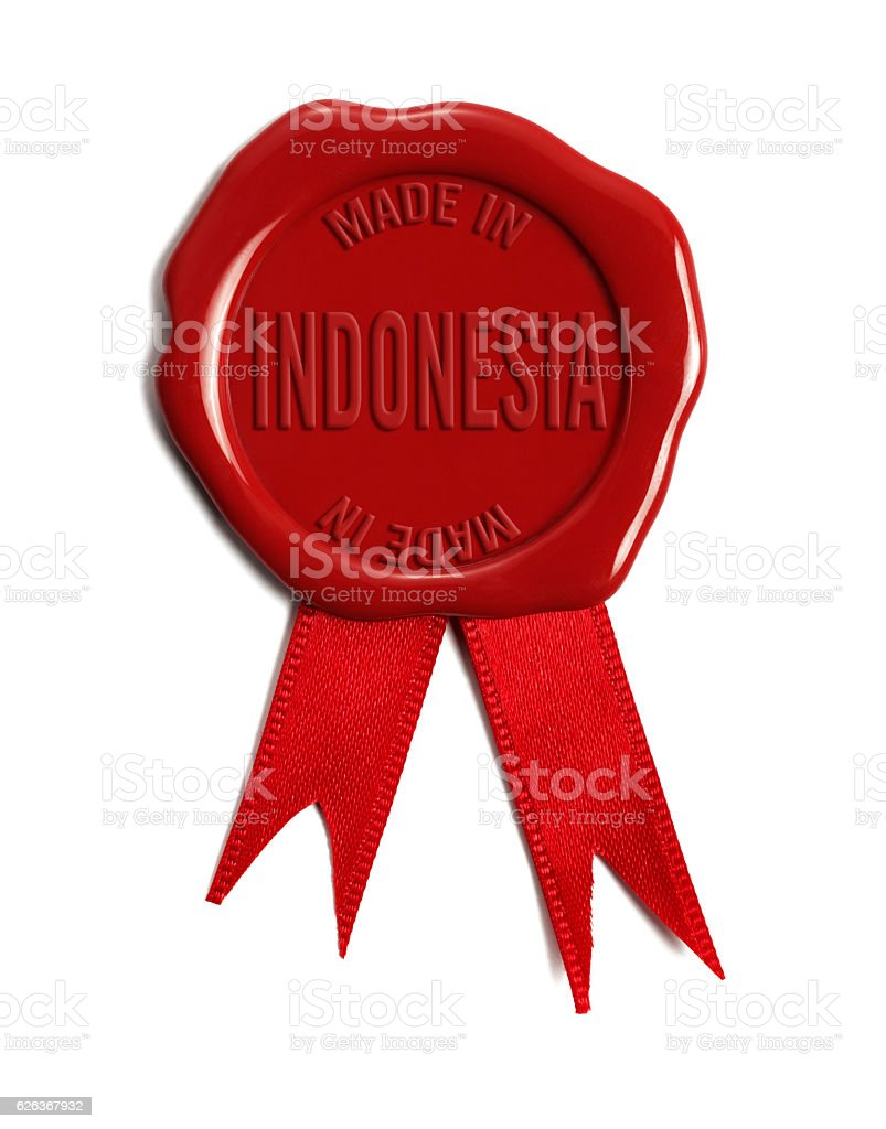 Made in Indonesia Wax Stamp stock photo