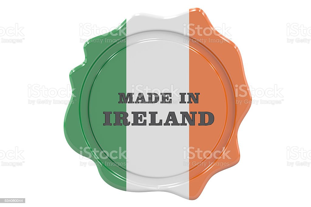 made in Ireland seal, stamp. 3D rendering stock photo