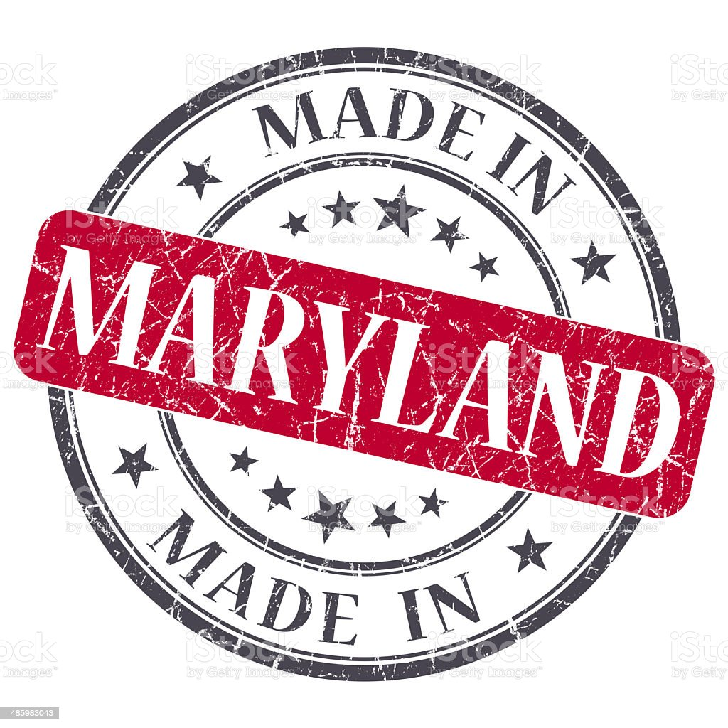 made in Maryland red round grunge isolated stamp stock photo