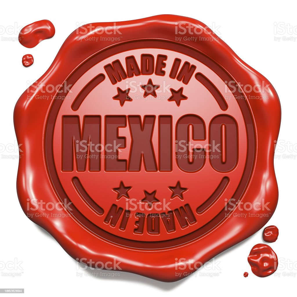 Made in Mexico - Stamp on Red Wax Seal. royalty-free stock photo