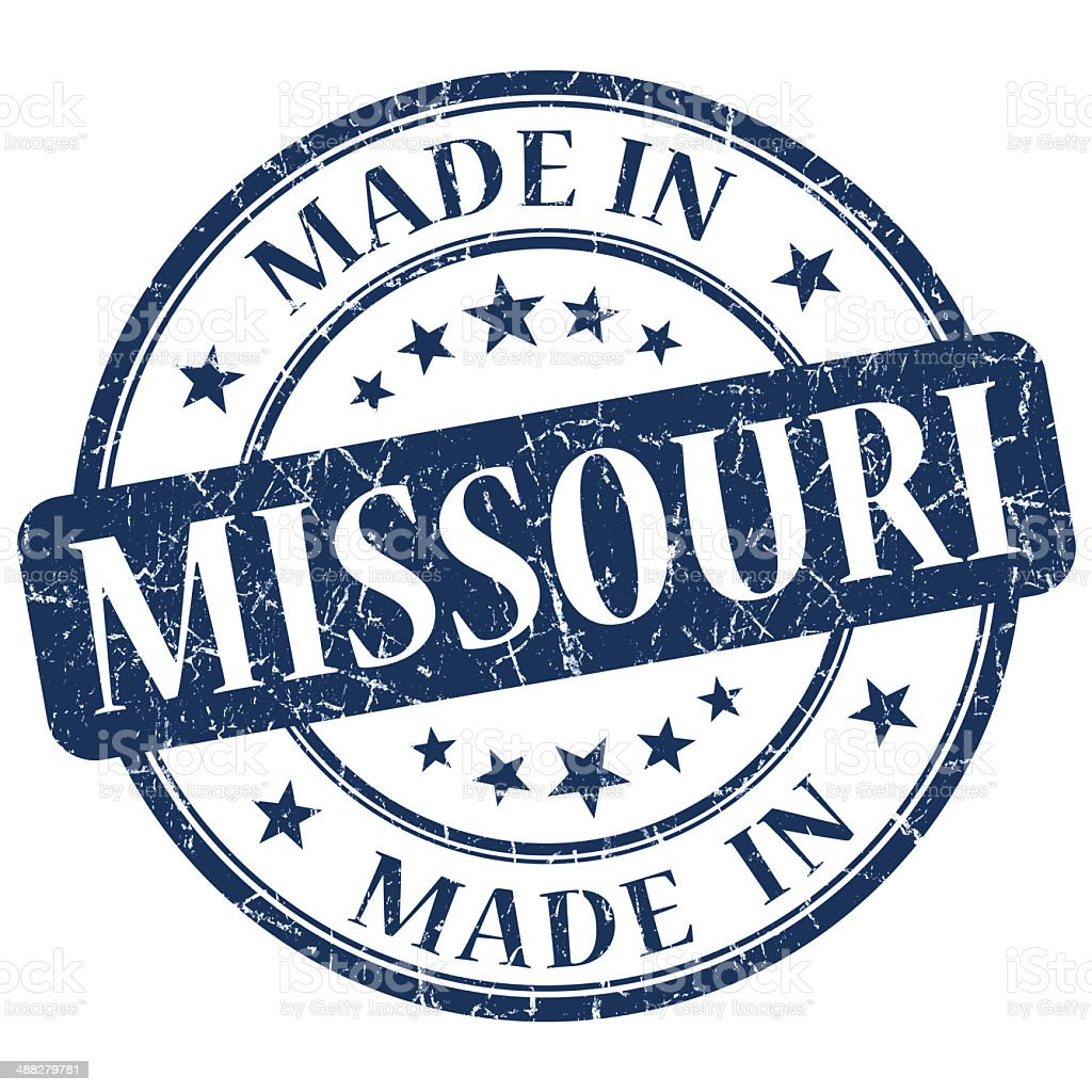 made in Missouri blue round grunge isolated stamp stock photo