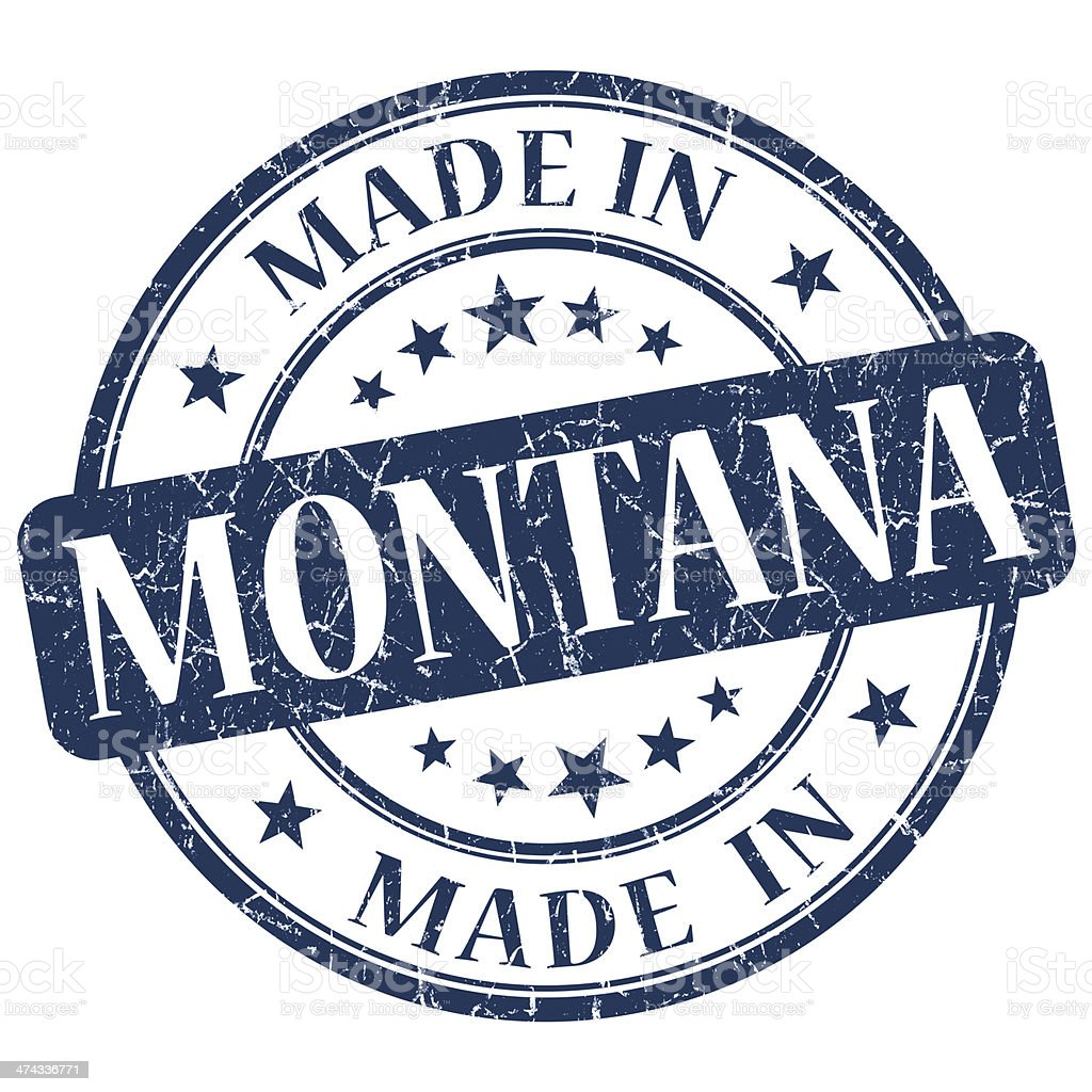 made in Montana blue round grunge isolated stamp stock photo