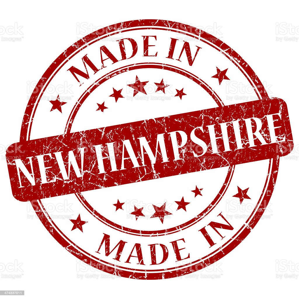 made in New Hampshire red round grunge isolated stamp vector art illustration